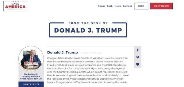 上线不到一个月 特朗普的个人网站宣布永久关闭!